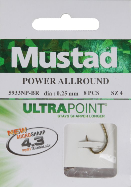 Mustad Snelled Power All Round Hooks 8pcs. 6 to 20 (NP-BN)