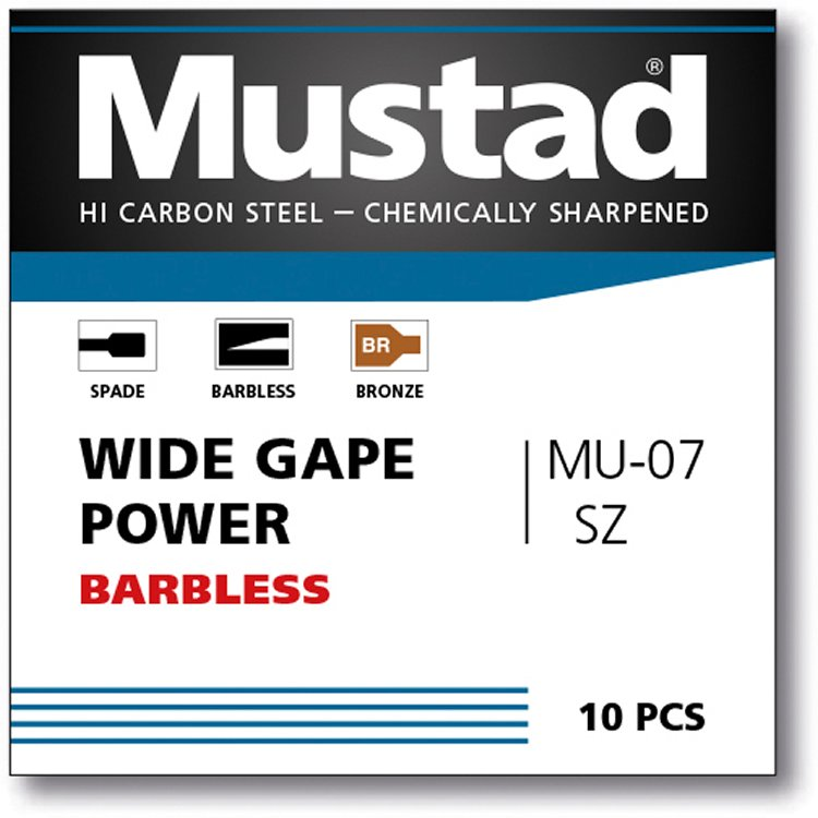 Mustad UNP Wide Gape Power Spade Barbless 10 (BR-MU07)